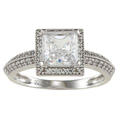 14k White Solid Gold 1 1/4ct TGW Princess-Cut Cubic Zirconia Halo Engagment Ring (Size 4.5), Women's