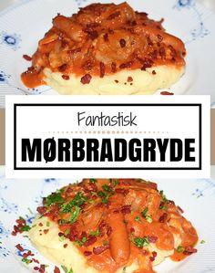 Mørbradgryde når det er allerbedst: mørt kød, cocktailpølser og champignon i en helt vidunderlig flødesovs.