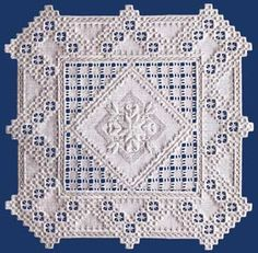 "The lovely center of satin stitching is accented with a unique square cutwork.  The design is 15.5"" x 15.5"" on 22-count.  #stitching #needlework #embroidery                                                                                                                                                     Mais"