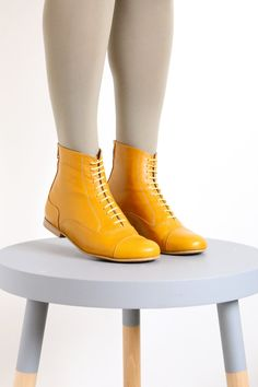 Yellow Leather Booties shoes, flat Boots, mid calf, handmade, womens, adikilav,On Sale 20%