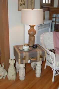 Vintage suitcase fashioned into a side table