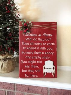 Christmas in Heaven Poem with Chair  by WhisperWillowDesigns