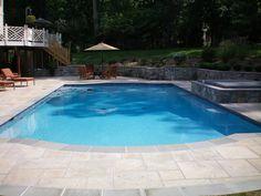 Mottle Grey Plaster, Leesburg, Virginia, Custom Freeform Pool, Raised Spa, Water Feature, Water Fall, Sheer Descent, Pool Length Bench