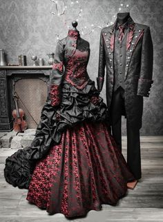 Dark Red Wedding The Original: Lucardis Feist Dark Couture. Extravagant black bridal gowns, wildromantic suits, Steampunk Frock Coats and all for a extraordinary wedding style. The Designer for the unusually wedding dress and groom outfits. Feist Style is Goth Wedding Dresses, Black Wedding Gowns, Vintage Wedding Suits, Halloween Wedding Dresses, Halloween Weddings, Black Weddings, Halloween Dress, Lace Dresses, Midi Dresses