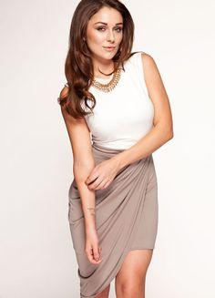 Shop: http://www.celebboutique.com/keeley-ivory-and-beige-drape-jersey-dress-en.html