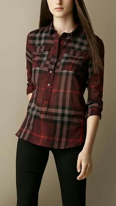 Burberry - Check Cotton Smock Shirt: This contemporary fitting shirt has a half placket (only buttons half-way down), making it easy to tuck in – no little open spaces by the waist of your pants or skirt. Plus Size Dressy Tops, Casual Tops, Cool Outfits, Casual Outfits, Fashion Outfits, Tie Dye Shirts, Women's Shirts, Online Dress Shopping, Mode Style