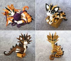 Cat Dragons by DragonsAndBeasties. I love this cat dragon combo. The best I have seen so far of cat dragons made with polymer clay.