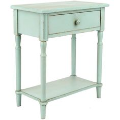 Michelle Light Blue Side Table ($120) ❤ liked on Polyvore featuring home, furniture, tables, accent tables, drawer furniture, wooden end tables, wood table, drawer table and wood side table