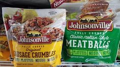 Johnsonville Original Sausage Crumbles and Classic Italian Style Meatballs