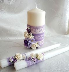 Candle Centerpieces, Candle Lanterns, Diy Candles, Pillar Candles, Candle Stand, Candle Set, Christmas Candle Decorations, Baby Food Jar Crafts, Wedding Unity Candles