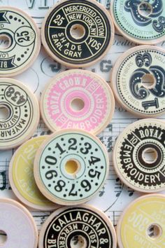 London market street buttons made from old spools