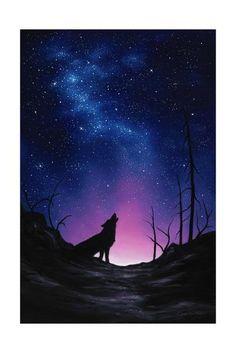 Night Sky Painting, Wolf Painting, Galaxy Painting, Galaxy Art, Galaxy Wolf, Night Sky Drawing, Wolf Silhouette, Silhouette Painting, Wolf Artwork