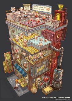 The Best Pork Ramen Complex - by Bangzheng Du, digital, 2014 : Art Isometric Art, Isometric Design, Environment Concept, Environment Design, Art Isométrique, Doodle Art, Pixel Art, Alter Computer, Drawn Art