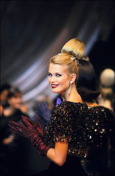 Claudia Schiffer on the runway for Christian Dior haute couture, Fall/Winter 1996/1997.