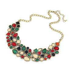 [CyberMondaySale]Europea (pendiente oval) aleación de oro Collar llamativo (Multicolor) (1 PC) – MXN $ 104.45
