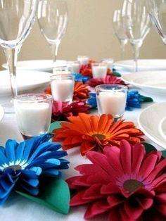 Бумажные цветы для украшения стола