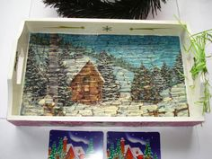 Winter Forest - Handmade wooden tray in decoupage technique