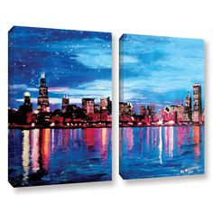 Chicago Skyline At Dusk by Marcus/Martina Bleichner 2 Piece Painting Print on Gallery Wrapped Canvas Set