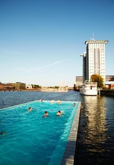 Badeschiff Berlin/ a Swimming pool in a barge in the Spree River / Berlin, Germany.