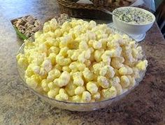 Sweet and creamy coated puffs of corn. These delicious morsels are sure to be a hit with everyone. You won't be able to quit eating them once you try them.