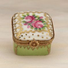 Limoges green square box with roses