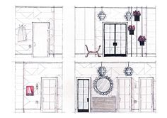 interior design, interior sketch, architecture sketch