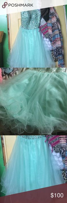 Cute Cap Sleeve Two Piece Short Mint Green Tulle Beaded Prom Dress ...