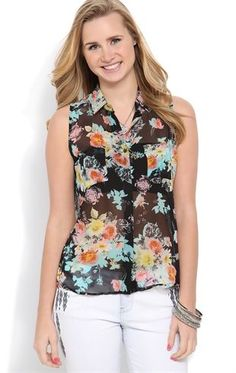 High Low Chiffon Button Down Top with Floral Print