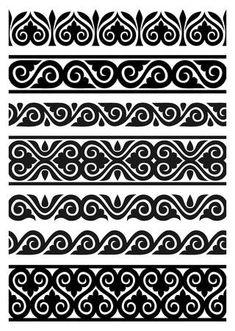 Illustration of set of vector seamless floral borders vector art, clipart and stock vectors. Stencil Patterns, Stencil Art, Stencils, Damask Stencil, Border Pattern, Pattern Art, Pattern Design, Mandala Design, Mandala Art