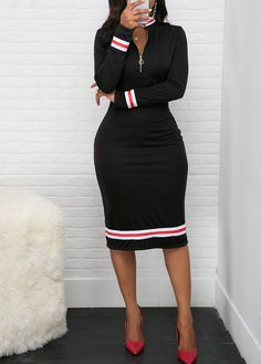 Zipper Front Striped Hem Black Sheath Dress | modlily.com - USD $28.95