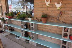 Repurposed Bi-Fold Closet Doors as Shelves
