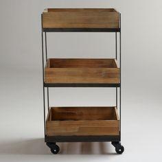 3-Shelf Wooden Gavin Rolling Cart   World Market