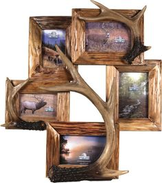 Cabin Decor - Antler Picture Frames Genuine Firwood frame with realistic resin deer antlers. This firwood and antler picture frame features 5 combines frames. Deer Antler Crafts, Antler Art, Western Decor, Country Decor, Rustic Decor, Deer Decor, Deer Hunting Decor, Home Decoracion, Deco Nature