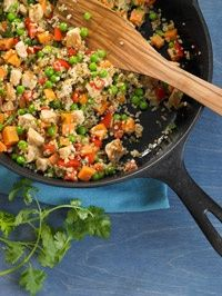 Chicken-Sweet Potato Stir-Fry - Healthy Recipe Finder | Prevention  1/2 C quinoa  1 med sweet potato   4 tsp canola oil  12 oz boneless, skinless chicken breast  1 med onion, chopped  1 jalapeno chile pepper, finely chopped  1 med red bell pepper, chopped  1 clove garlic, minced  1 tsp ground cumin  1 C frozen peas  3 tbsp chopped fresh cilantro