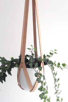 Plant hanger leather, ceiling planter, leather geometric hanging planter, vegetable tanned leather nude including white ceramic pot