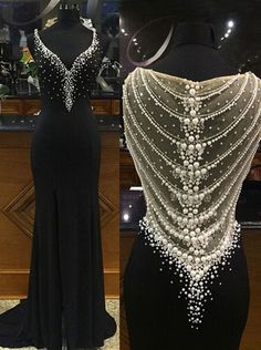 Buy Luxurious Sweated Long Black Chiffon Beaded See Through Prom Dresses Prom Dresses under US$ 184.99 only in SimpleDress.