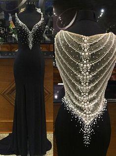 Side Slit Prom Dresses,Mermaid Prom Dresses,Long Pearls Prom Dresses,Black Prom Dresses,Chiffon Prom Dress,Long Chiffon Formal Gowns,Mermaid Evening Dresses