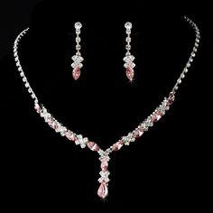 Sparkling Silver Plated Pink Rhinestone jewelry set -  pretty! -Affordable Elegance Bridal -