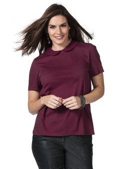 Typ , T-Shirt, |Material , Baumwolle, |Materialzusammensetzung , 100% Baumwolle, |Passform , Leicht tailliert, |Kragen , mit Bubi-Kragen aus Spitze, |Ausschnitt , Rundhals-Ausschnitt, |Optik , hinten mit kleinem Schlitz, |Gesamtlänge , Größenangepasste Länge von ca. 66 bis 76 cm, |Ärmellänge , Kurzarm, | ...