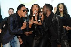 """Having choir troubles? They can help with that. GRAMMY-nominated gospel artist Deitrick Haddon and GRAMMY winners Michelle Williams and Tye Tribbet announce their new reality TV show """"Fix My Choir"""" during a performance on April 7 in New York"""