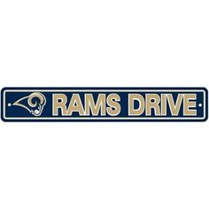 "St. Louis Rams Plastic Street Sign ""Rams Drive"" by Fremont Die. $7.25. Made of durable styrene plastic. Features vibrant team colors and logos. Pre-drilled holes at sides for easy mounting. Officially licensed by the National Football League. Sign measures approximately 4"" x 24"". This plastic sign is a great decoration for the rec room or basement bar! Features vibrant team colors and helmet logo, on a sturdy, die-cut plastic sign that will stand up to all kinds of wea..."