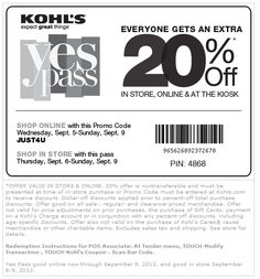 20% off everything at Kohls, or online via checkout promo JUST4U coupon via The Coupons App