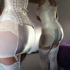 Tight foundation wear for bride. White Open Bottom Girdle White Bra White Underbust Corset and Sheer White Stockings