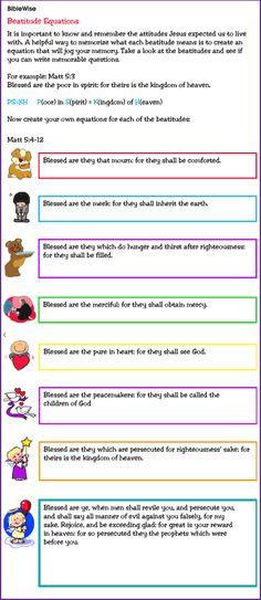 Activity to Help Children Memorize the Beatitudes - Kids Korner - BibleWise