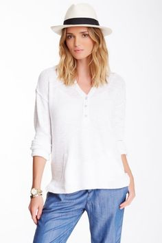 Michael Stars XS / S Cotton Textured Lightweight Pullover Sweater White NWT $128 #MichaelStars #VNeck