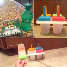Delicious sprite and gummy bear Popsicles