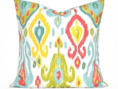 Turquoise Ikat Pillow Cover Green Yellow Red White Decorative 18x18 on Etsy, Sold
