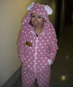 Hayley Tamaddon, Dancing On Ice Pink Polda Dot Onesie, Front pockets, i-pocket, The All-in-One Company Logo