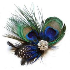 Best Deal Good Quality Peacock Feather Sparkling Rhinestones Bridal Wedding Hair Clip Head Accessory for Women Lady Beauty 1set