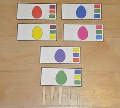 Easter Egg Colors Clothespin Task:  Students attach one clothespin per card to match the color of the Easter egg to the color on the side of the card.